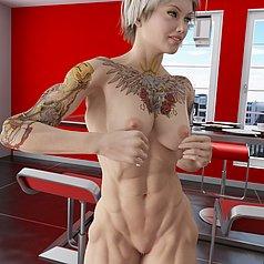 Threesome scopa con due bodybuilding bellezze in una cucina