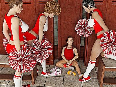 Bellissimo cheerleaders punish il loro ragazzo per essendo troppo sporca.